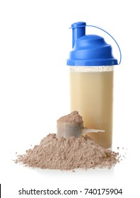 Bottle with protein shake and powder on white background