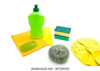 bottle, rags, soap and gloves on white background