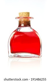bottle with red liquid