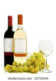 bottle of red and white wine with vine and wineglass against the white background