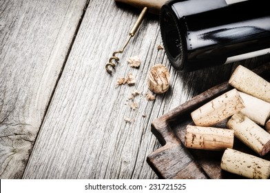 Bottle of red wine and corks. Wine list concept