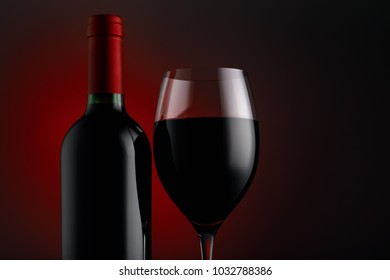 Bottle of red wine with a glass on a black background, horizontal close-up image