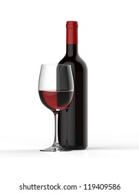 Bottle of red wine with glass on white background.