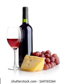 Bottle of red wine, grapes and cheese isolated on white