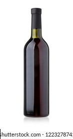 bottle red wine isolated on white with clipping path