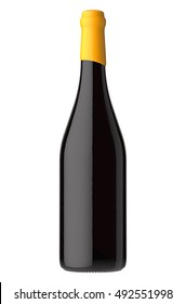 Bottle of red wine. Isolated on white background