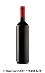Bottle of red wine isolated in white background