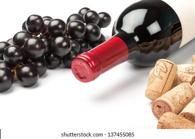 Bottle of red wine on white background