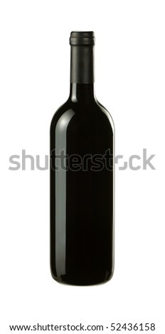 Bottle of red wine without a label on a white background with path.