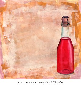 A bottle of rose sparkling wine on a textured background