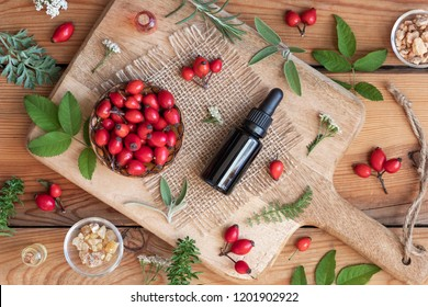 A bottle of rosehip seed oil with sage, wormwood, winter savory and other herbs on a wooden background