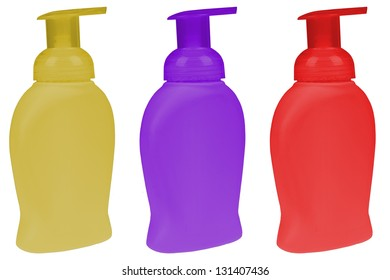 Bottle set of liquid soap isolated on white background