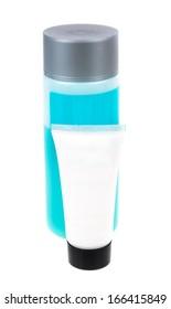 Bottle of shampoo. Microstock on white background