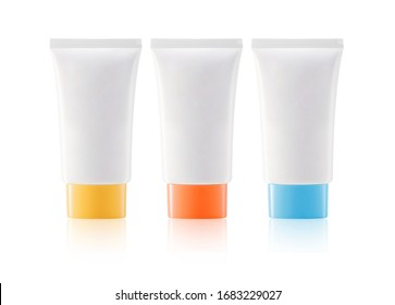 Bottle shaped containers isolated set on white background empty and clean white plastic mock-up of cosmetic package.