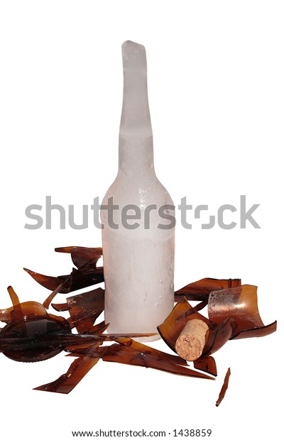 Bottle Shattered by Frozen Water