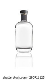 Bottle of silver tequila isolated on white background