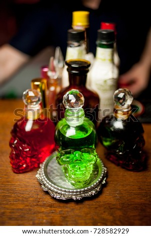 3b2c68ff91c Bottle Skull Bottles On Bar Colored Stock Photo (Edit Now) 728582929 ...