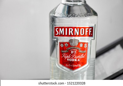 Lop​Buri​-Thailand,03/10/2019: Bottle of Smirnoff, a brand of vodka produced by the British company Diageo. Founded in Moscow by Pyotr Arsenievich Smirnov it is now distributed in 130 countries