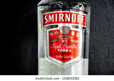 Lop​Buri​-Thailand,11/10/2019: Bottle of Smirnoff, a brand of vodka produced by the British company Diageo. Founded in Moscow by Pyotr Arsenievich Smirnov it is now distributed in 130 countries
