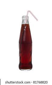 Bottle of soda with straw isolated on white background