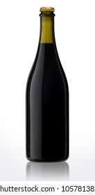 Bottle of sparkling red wine isolated with clipping path