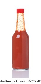 Bottle of spicy, red hot sauce