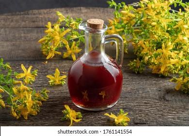 A bottle of St. John's wort oil with fresh Hypericum flowers