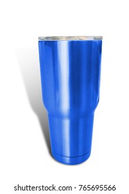 Bottle Stainless blue color isolated on white background. This has clipping path.