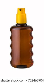 Bottle of sun tan oil isolated, clipping path.