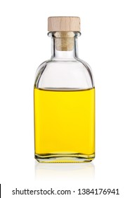 Bottle of sunflower, olive or peanut oil isolated on white background
