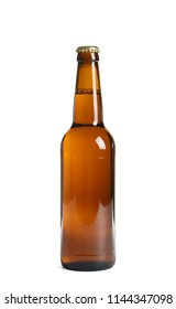 Bottle of tasty cold beer on white background