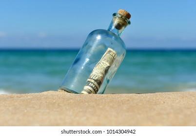 Bottle with ten dollars bill inside found on the beach