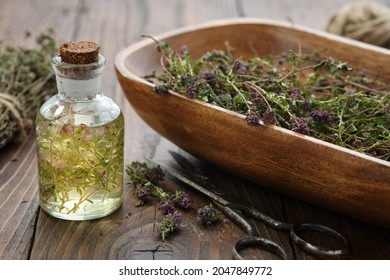 Bottle of thyme essential oil or infusion, wooden bowl filled with dried thymus serpyllum plants,  healthy thyme flowers on wooden table. Alternative medicine.