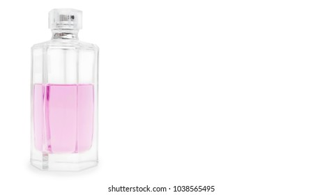 bottle with toilet water, isolated on white background. copy space, template