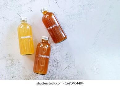bottle of  variety probiotic drink Kombucha