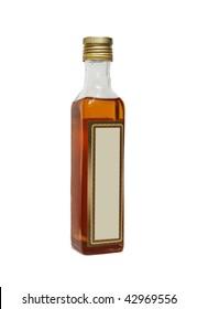 Bottle of vegetable oil isolated on white.