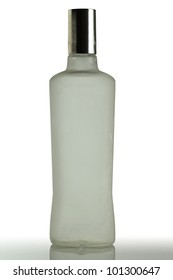 Bottle of vodka covered with frost.