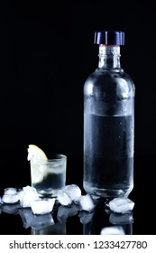 bottle of vodka with limon