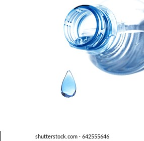 Bottle and water drop on white background. Concept of clean drink
