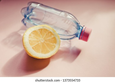 Bottle water and lemon/toned photo