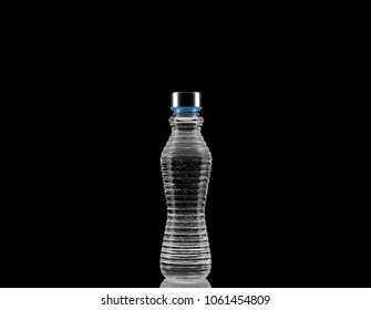 bottle of water on black background