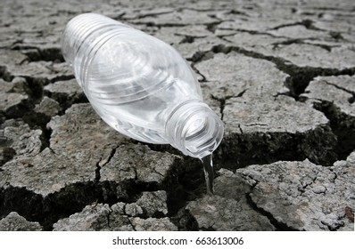 Bottle with water on the dried ground