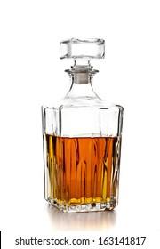 bottle of whiskey on white background