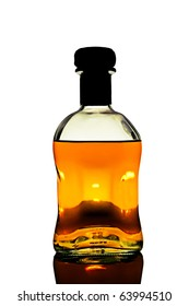 Bottle of whiskey in white