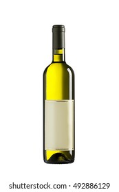 Bottle of white wine isolated