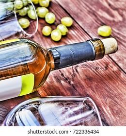 Bottle of white wine.  Thanksgiving. Toned image