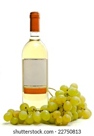 bottle of white wine with vine against the white background