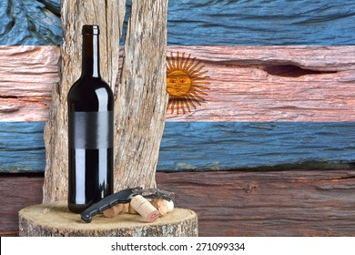 bottle of wine with Argentina flag in the background