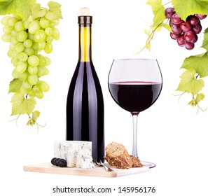 bottle of wine, assortment of  cheese and grapes isolated on white