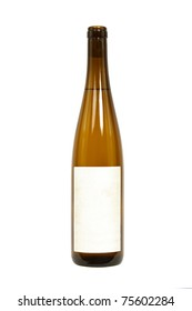 Bottle of Wine with a Blank Label Isolated on a White Background